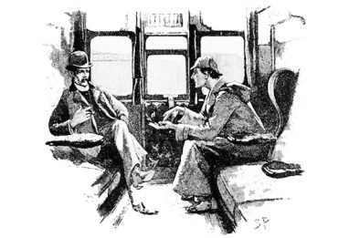 illustration of Sherlock Holmes and Dr. Watson sitting in a train compartment
