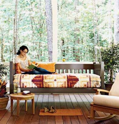 image of daybed on screened porch